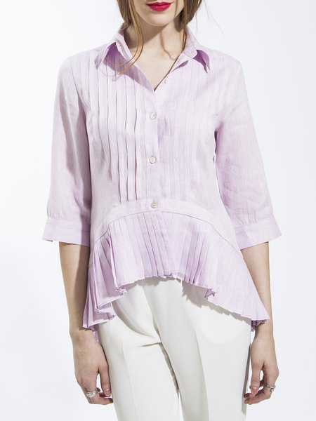 3/4 Sleeve Elegant Linen Pleated Asymmetrical Blouse