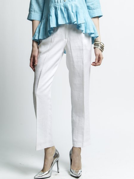 White Linen Elegant Plus Size Straight Leg Pants