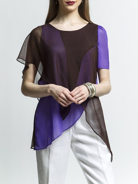 Crew Neck Chiffon Statement Short Sleeve Color-block Blouse