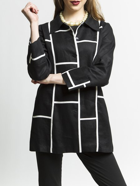 Shirt Collar Long Sleeve Elegant H-line Plus Size Linen Coat