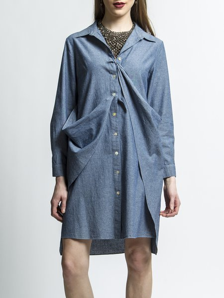Cotton Asymmetrical Long Sleeve Plus Size Shirt Dress