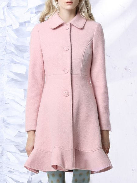 Pink Shirt Collar Solid Elegant Mermaid Coat