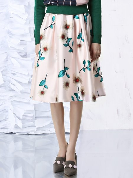 Pink Casual Printed Midi Skirt
