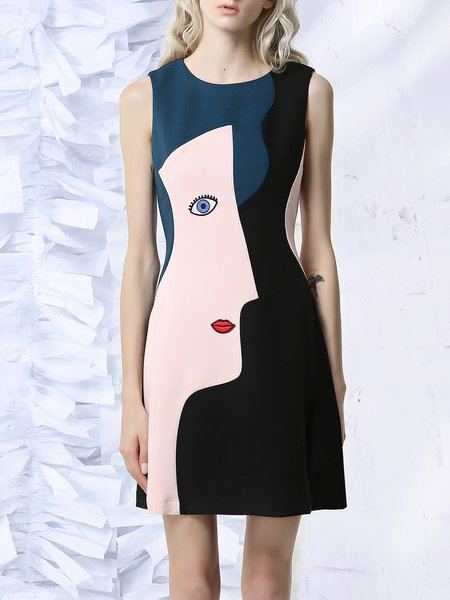 Multicolor Sleeveless Color-block Statement Mini Dress