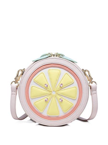 Pink Zipper PU Sweet Shoulder Bag