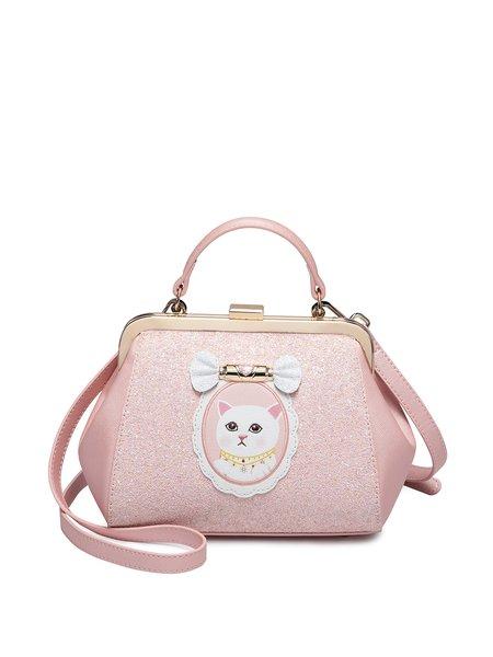 Pink Clasp Lock PU Shoulder Bag
