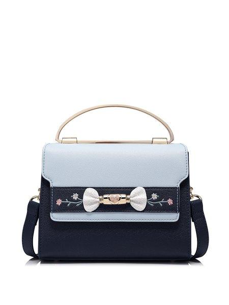Blue PU Fold-over Flat Top Sweet Shoulder Bag