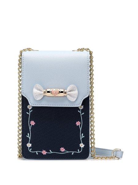 Blue Fold-over Flat Top PU Crossbody Bag