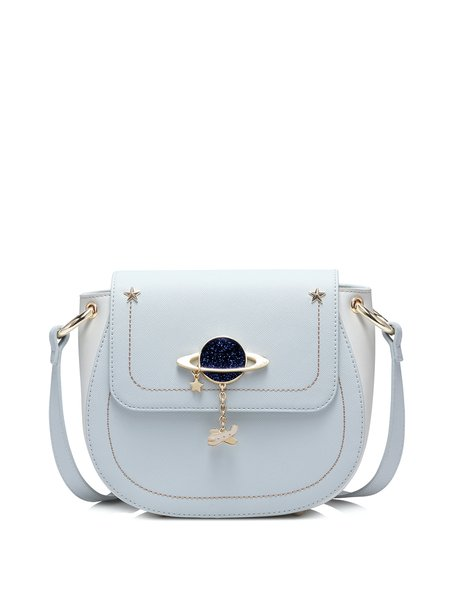 Blue PU Magnetic Crossbody Bag