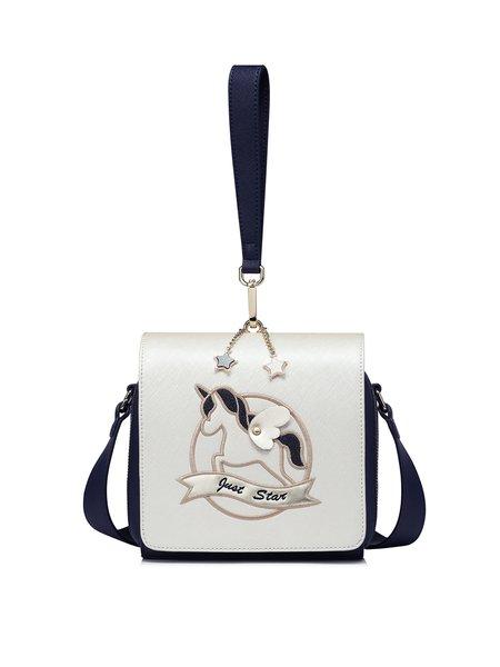 Blue Sweet Fold-over Flat Top Shoulder Bag