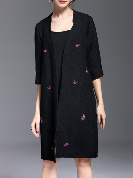 Long Sleeve H-line Casual Bird Embroidered Coat