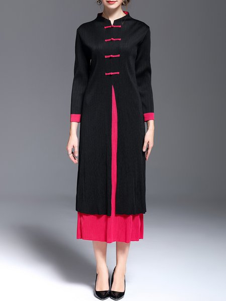 Rose Red Color-block Long Sleeve Vintage Stand Collar Midi Dress