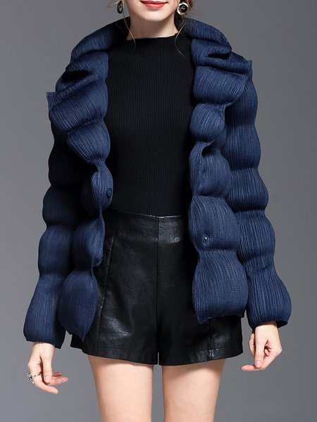 Solid Pleated Long Sleeve Cocoon Coat