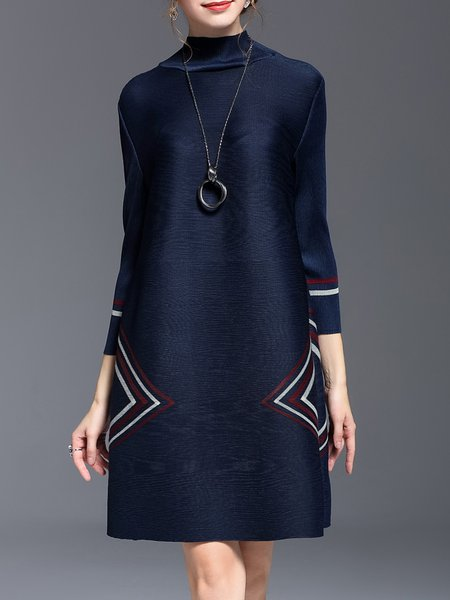 Navy Blue Printed Casual A-line Midi Dress