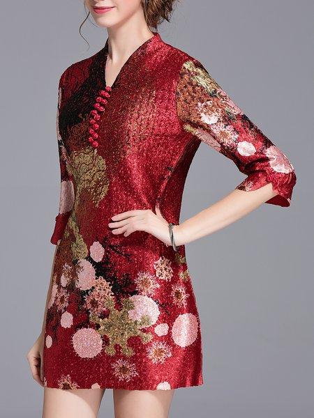 Plus Size Vintage Printed/Dyed Half Sleeve Mini Dress