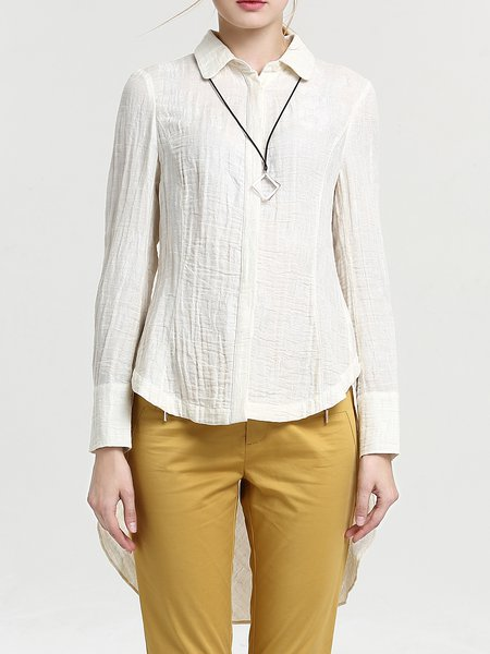 Beige Shirt Collar Asymmetrical Long Sleeve Ramie Tunic