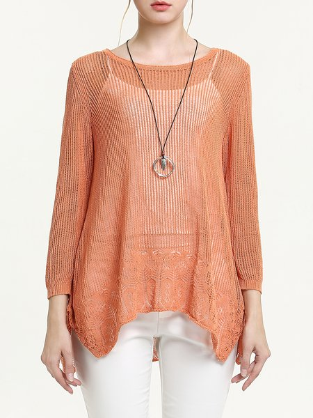 Orange Asymmetric Two Piece Casual Crew Neck Blouse