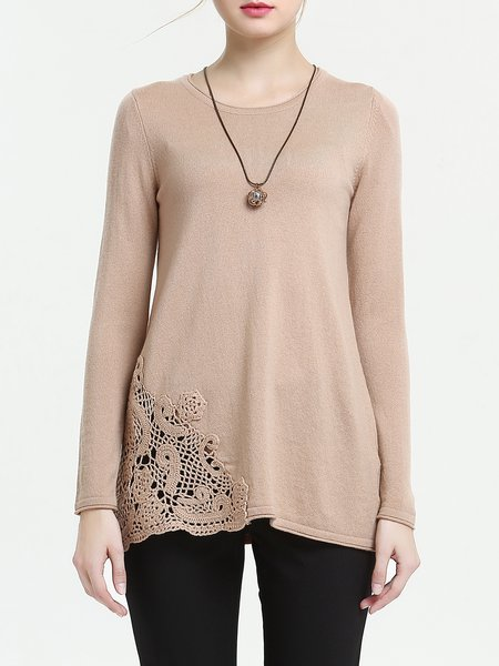 Apricot Long Sleeve Plain Pierced Blouse