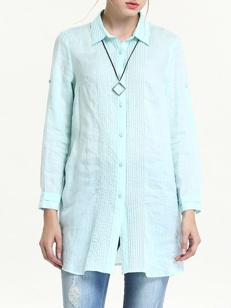 Green Casual H-line Shirt Collar Plain Ribbed Tunic