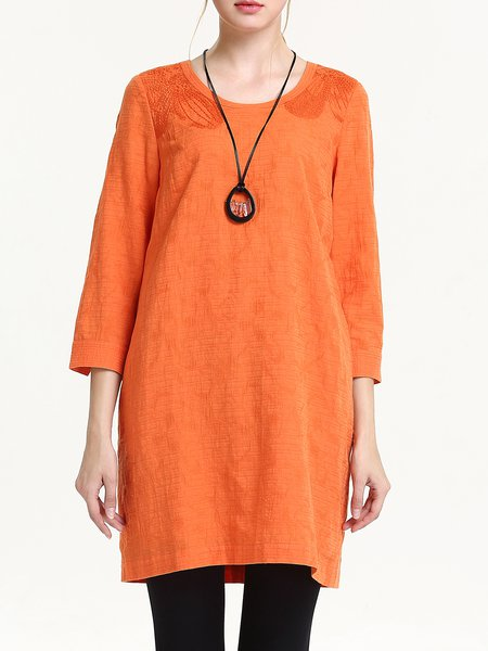 Orange Cotton-blend 3/4 Sleeve Embroidered Tunic