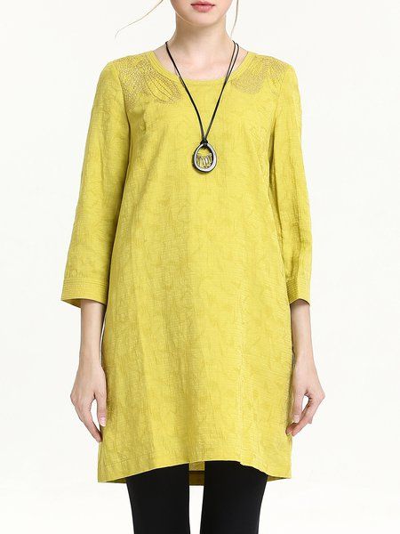 Yellow Casual Plain Cotton-blend Crew Neck Embroidered Tunic
