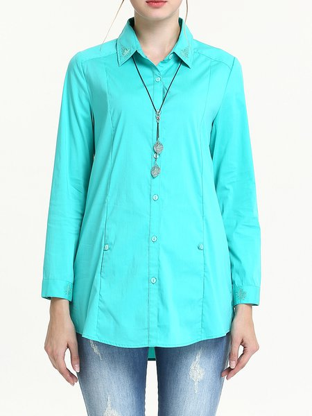 Green Cotton-blend Plain Long Sleeve Embroidered H-line Blouse