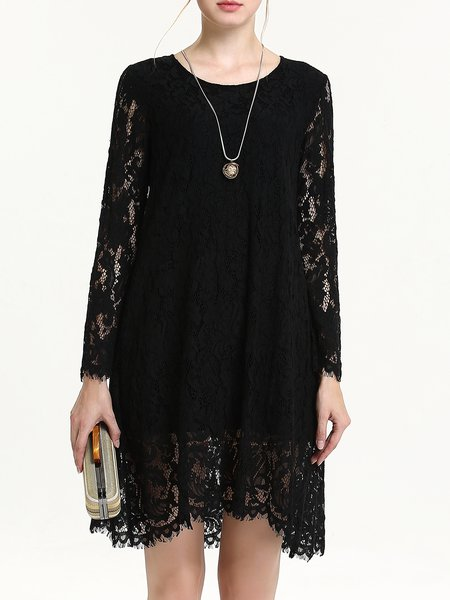 H-line Elegant Crew Neck Long Sleeve Plain Lace Midi Dress