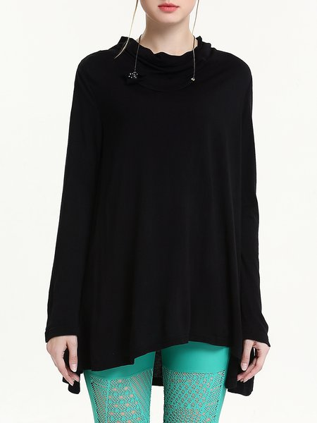 Casual Asymmetric Long Sleeve Plain Tunic