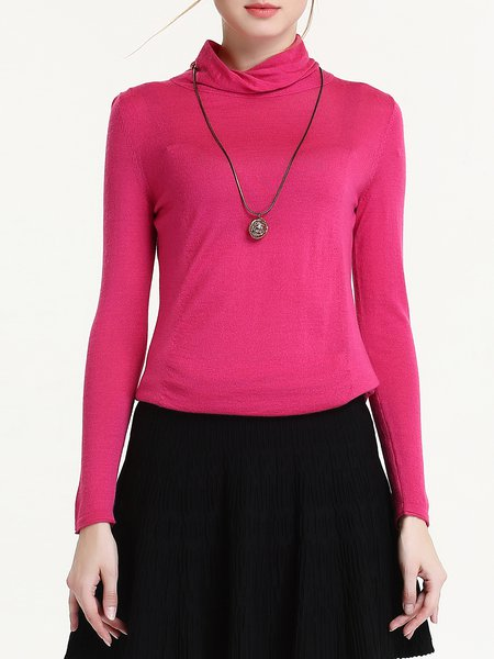 Simple Plain Long Sleeve Wool Blend Knitted Sweater