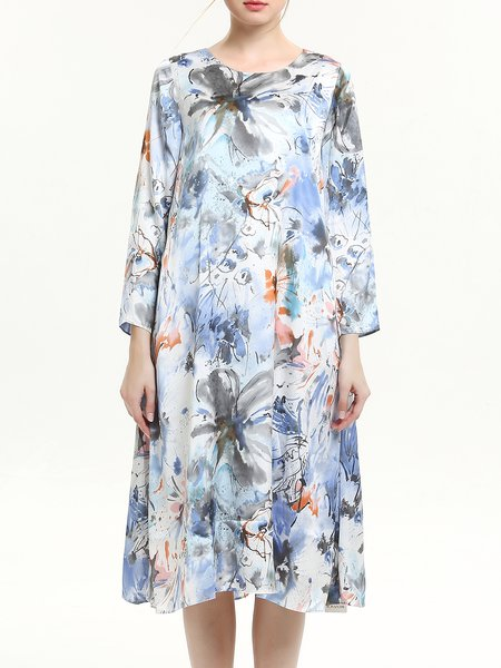 Multicolor Vintage Floral Print Crew Neck Midi Dress