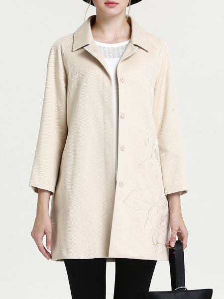 Khaki Shift Floral-embroidered Elegant Coat