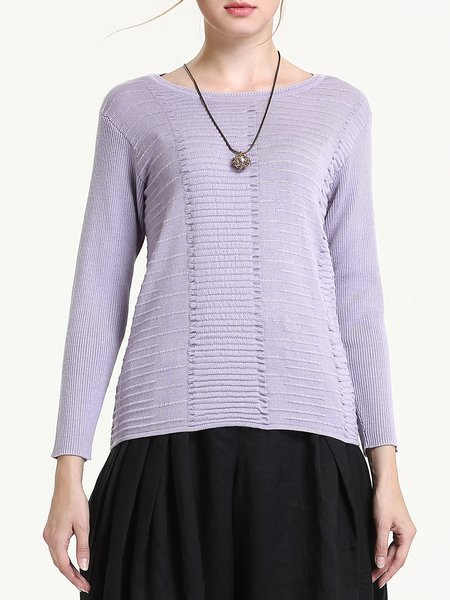 Purple Elegant Knitted Sweater