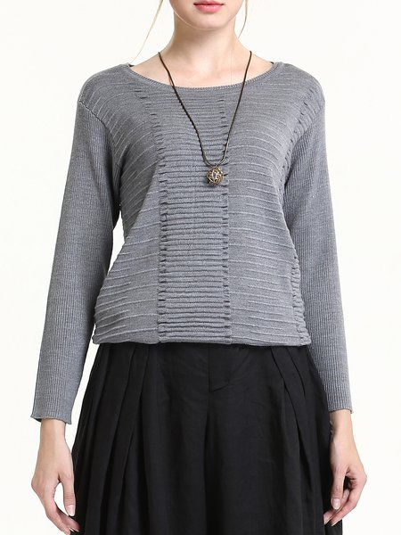 Gray Elegant Plain Knitted Wool Sweater