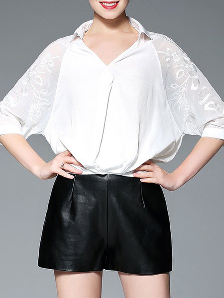 Embroidered Casual 3/4 Sleeve Plain Blouse