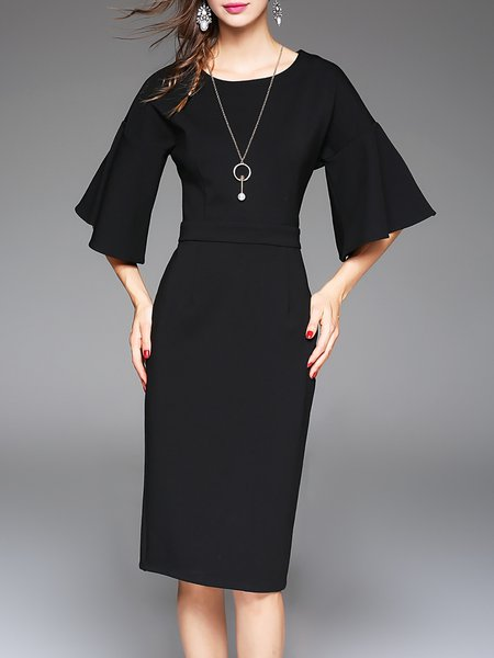 Cotton-blend Crew Neck Elegant Solid Frill Sleeve Midi Dress