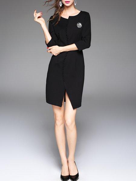 Plain 3/4 Sleeve Slit Buttoned Elegant Mini Dress