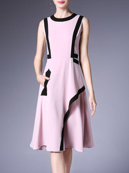 Casual A-line Color-block Sleeveless Crew Neck Midi Dress