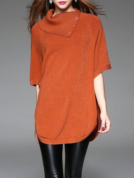 Brown Half Sleeve Turtleneck Wool Blend Buttoned Sweater