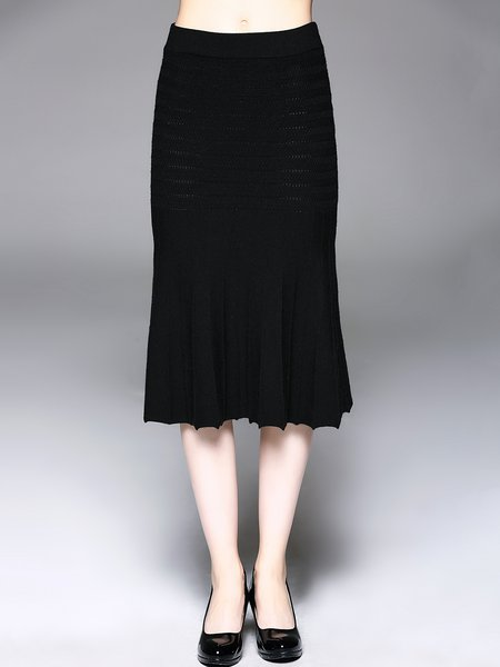 Black Mermaid Elegant Ribbed Midi Skirt
