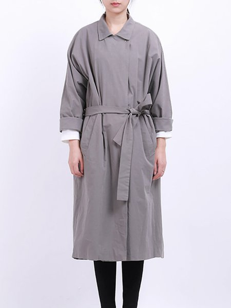Gray Shift Long Sleeve Pockets Trench Coat with Belt