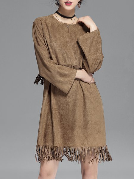 H-line Casual Fringed Long Sleeve Midi Dress
