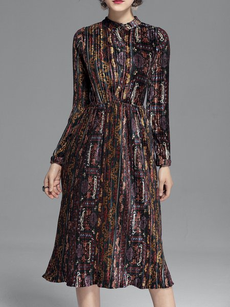 Long Sleeve Printed Abstract Vintage A-line Midi Dress