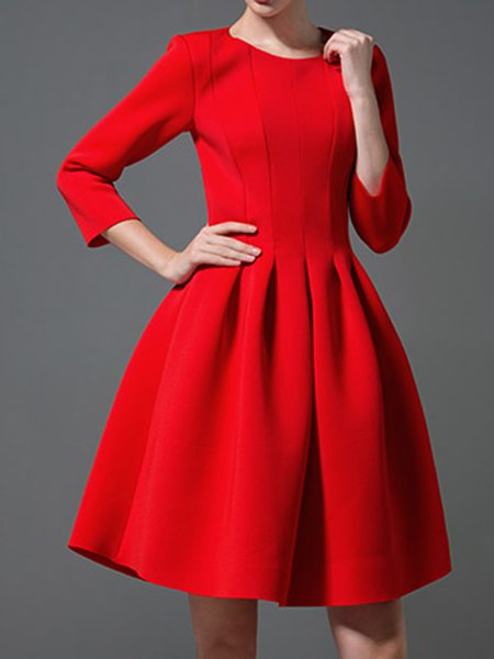 Plus Size Red Fit and Flare Midi Dress