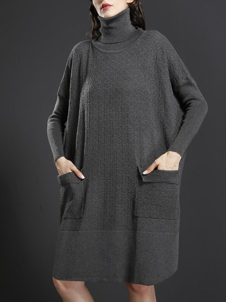 Long Sleeve Pockets Turtle Neck Linen Dress