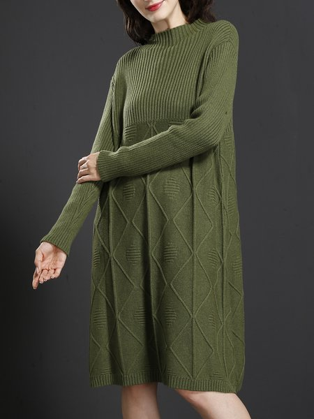 Green Cotton Knitted Long Sleeve Stand Collar Casual Sweater Dress