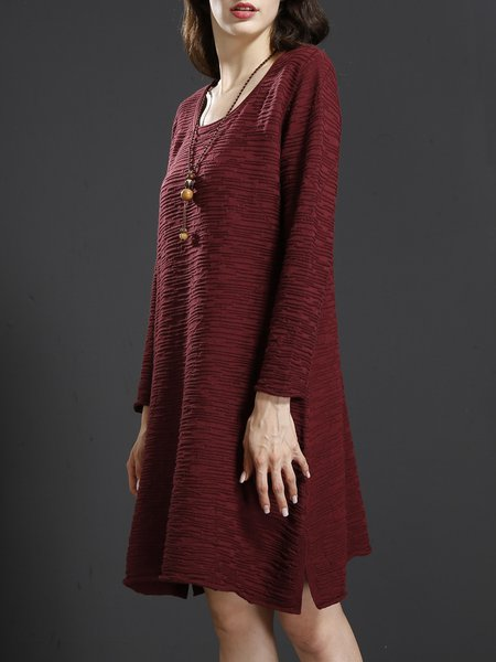 Long Sleeve Casual Cotton Crew Neck Linen Dresses