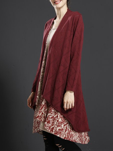 Long Sleeve Casual Knitted Printed Paneled Linen Outerwears