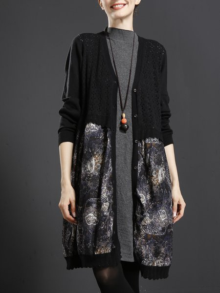 Paneled Long Sleeve Cotton Casual Linen Outerwears