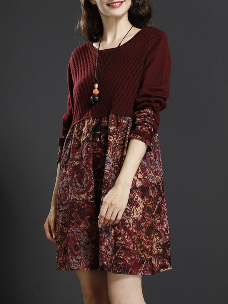 Long Sleeve Casual Knitted Shift Crew Neck Dresses