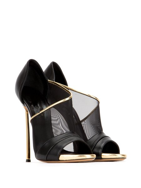 Black Stiletto Heel Leather Summer Split Joint  Heels